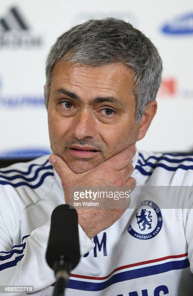 Chelsea manager Jose Mourinho speaks to the press during a Chelsea Press Conference at Chelsea Training Ground on February 10 2014 in Cobham England