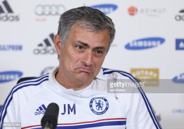 Chelsea manager Jose Mourinho speaks to the press during a Chelsea Press Conference at Chelsea Training Ground on April 4 2014 in Cobham England
