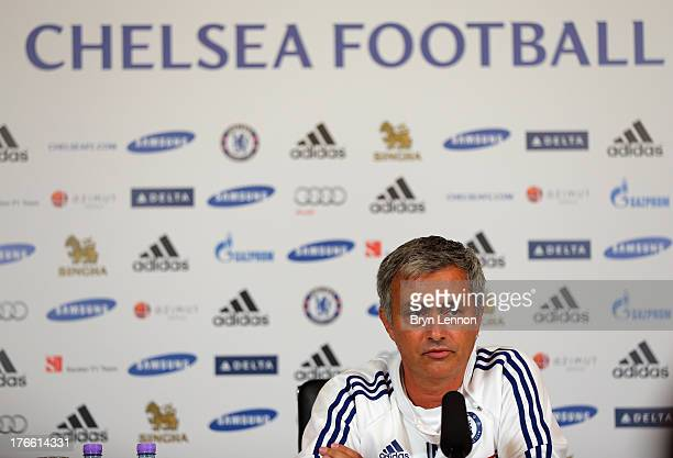 Chelsea Manager Jose Mourinho talks to the media at a press conference on August 16 2013 in Cobham England