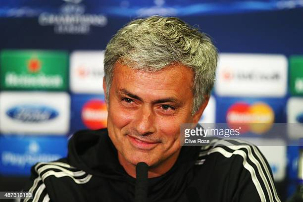 Chelsea manager Jose Mourinho talks to the media at the Chelsea press conference at Stamford Bridge on April 29 2014 in London England