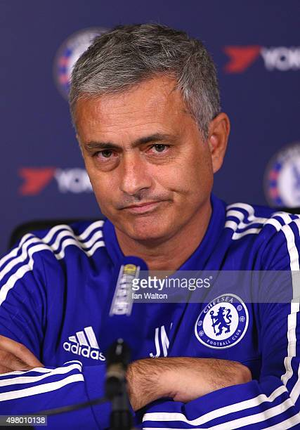 Chelsea manager Jose Mourinho talks to the media during a press conference at Chelsea Training Ground on November 20 2015 in Cobham England