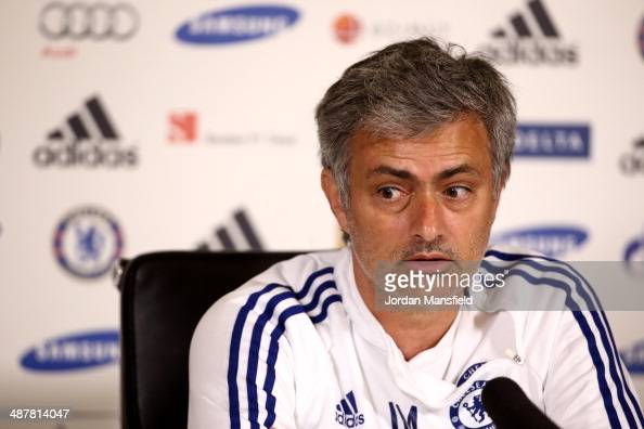 Chelsea Manager Jose Mourinho talks to the press at the Chelsea Training Ground on May 2 2014 in Cobham England