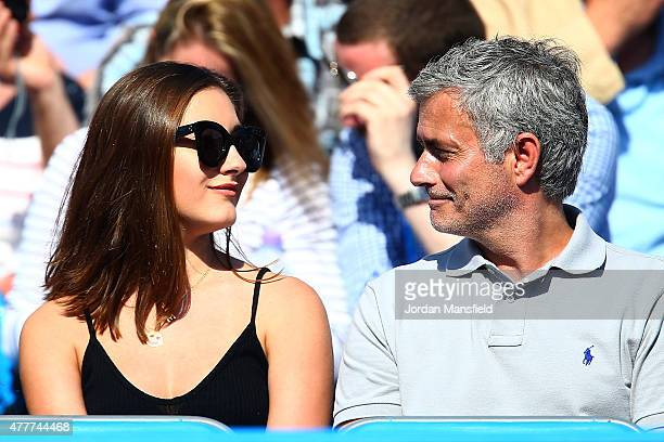 Chelsea manager Jose Mourinho watches the match between Gilles Simon of France and Milos Raonic of Canada during day five of the Aegon Championships...