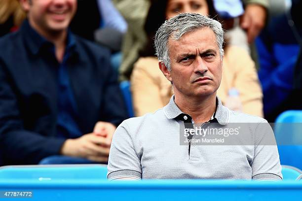Chelsea manager Jose Mourinho watches the match between Kevin Anderson of South Africa and Gilles Simon of France during day six of the Aegon...