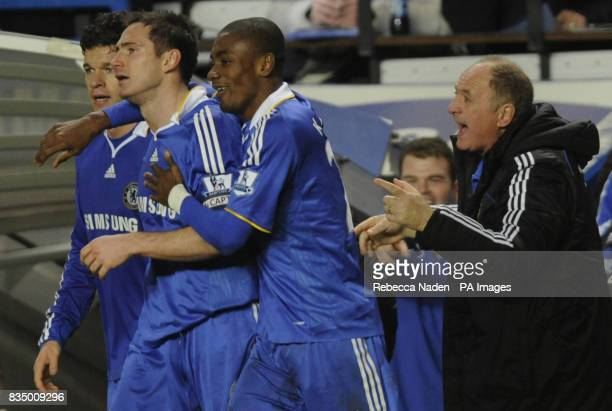 Chelsea manager Luiz Felipe Scolari reacts after Frank Lampard's goal during the Barclays Premier League match at Stamford Bridge London