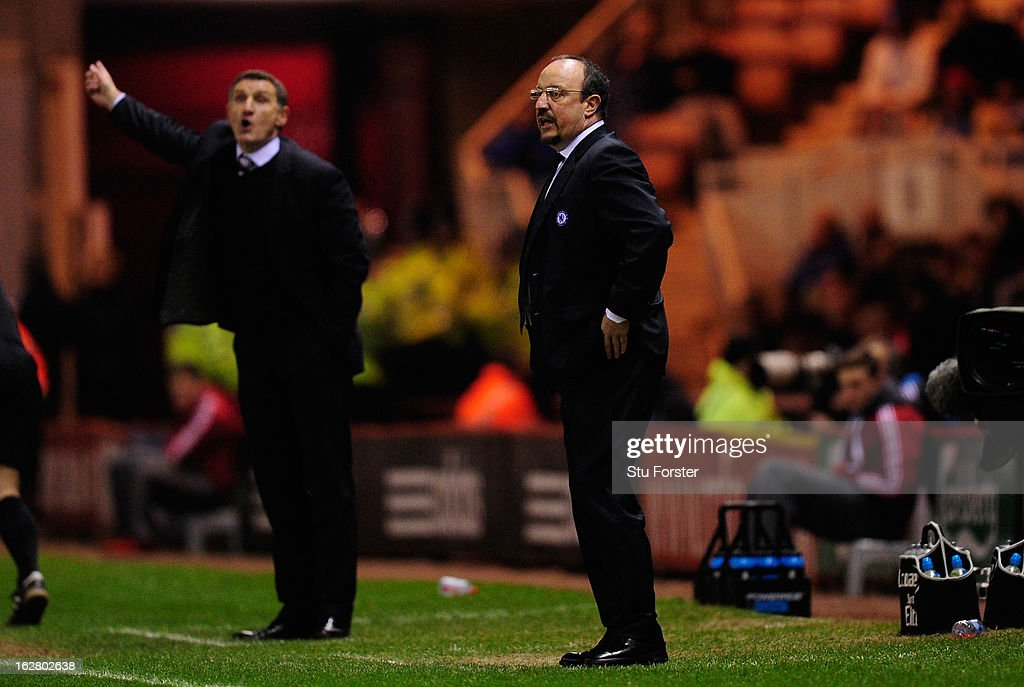 Chelsea manager Rafa Benitez (R) and Boro manager Tony Mowbray react during the FA Cup Fifth Round match between Middlesbrough and Chelsea at Riverside Stadium on February 27, 2013 in Middlesbrough, England.