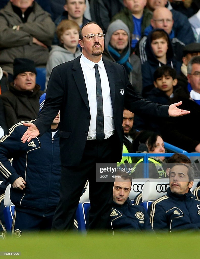 Chelsea manager Rafael Benitez during the Barclays Premier League match between Chelsea and West Ham United at Stamford Bridge on March 17, 2013 in London, England.