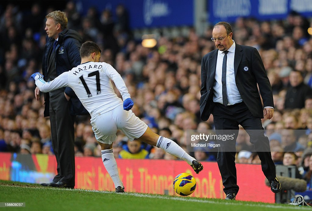 Chelsea Manager Rafael Benitez looks on as Eden Hazard of Chelsea retrieves the ball during the Barclays Premier League match between Everton and Chelsea at Goodison Park on December 30, 2012 in Liverpool, England.
