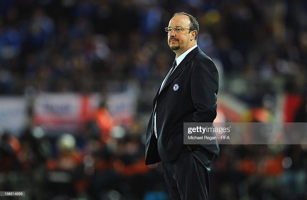 Chelsea manager Rafael Benitez looks on during the FIFA Club World Cup Semi Final match between CF Monterrey and Chelsea at International Stadium Yokohama on December 13, 2012 in Yokohama, Japan.