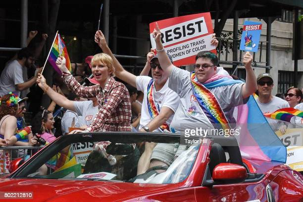Chelsea Manning and Gavin Grimm ride with the ACLU in the 2017 Pride March on June 25 2017 in New York City