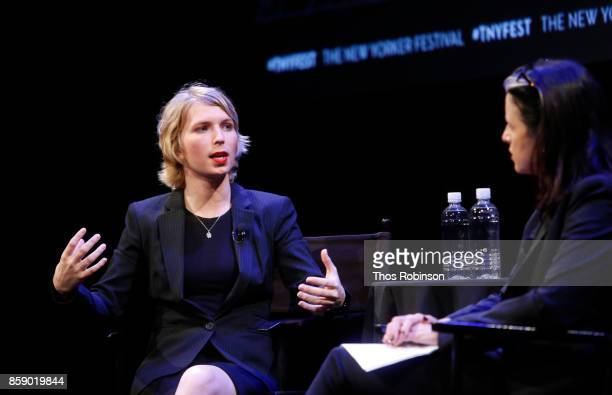 Chelsea Manning and Larissa MacFarquhar attend The 2017 New Yorker Festival Chelsea Manning Talks With The New Yorker's Larissa MacFarquhar on...
