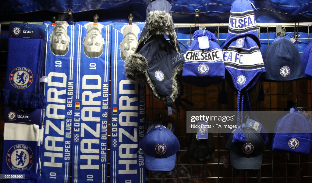 Chelsea merchandise for sale before the Emirates FA Cup, Quarter Final match at Stamford Bridge, London.