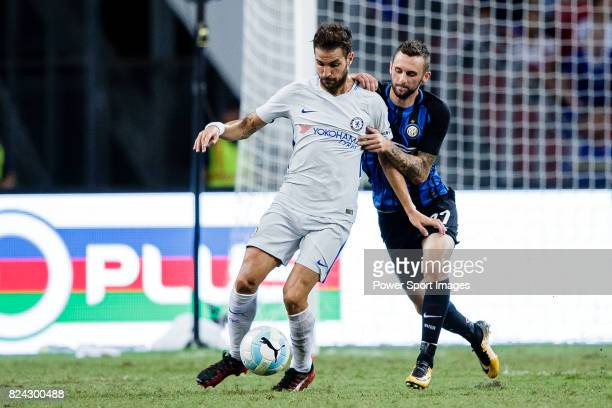 Chelsea Midfielder Cesc Fabregas fights for the ball with FC Internazionale Midfielder Marcelo Brozovic during the International Champions Cup 2017...