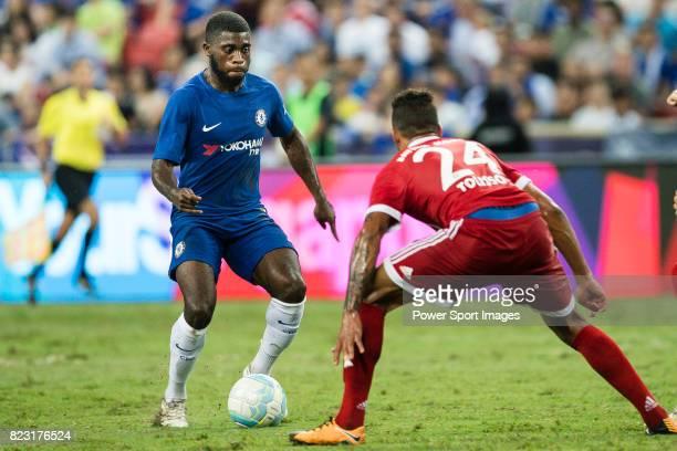 Chelsea Midfielder Jeremie Boga in action against Bayern Munich Midfielder Corentin Tolisso during the International Champions Cup match between...