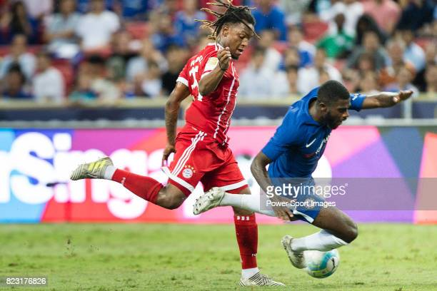 Chelsea Midfielder Jeremie Boga trips up with Bayern Munich Midfielder Renato Sanches during the International Champions Cup match between Chelsea FC...