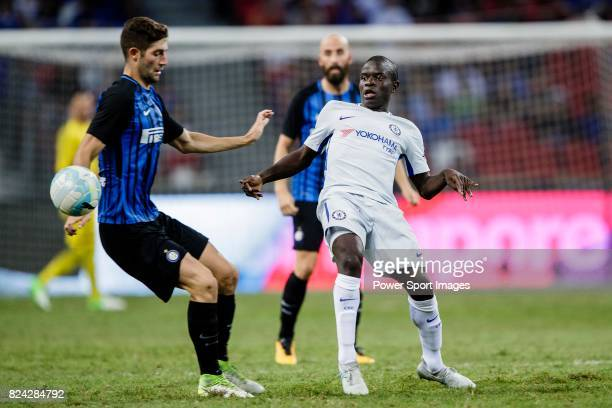 Chelsea Midfielder N'Golo Kante plays against FC Internazionale Midfielder Roberto Gagliardini during the International Champions Cup 2017 match...