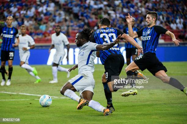 Chelsea Midfielder Victor Moses fights for the ball with FC Internazionale Defender Danilo D'u2019Ambrosio during the International Champions Cup...