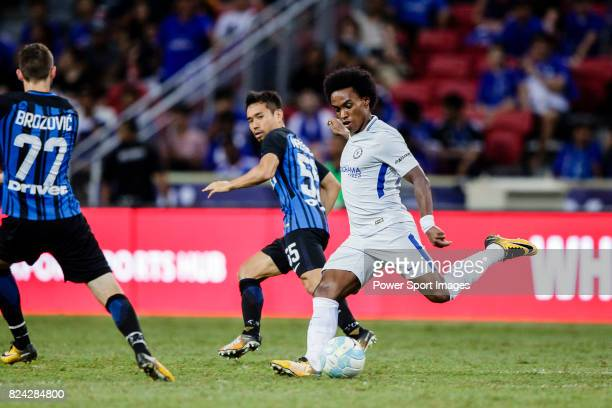 Chelsea Midfielder Willian da Silva plays against FC Internazionale Defender Yuto Nagatomo during the International Champions Cup 2017 match between...