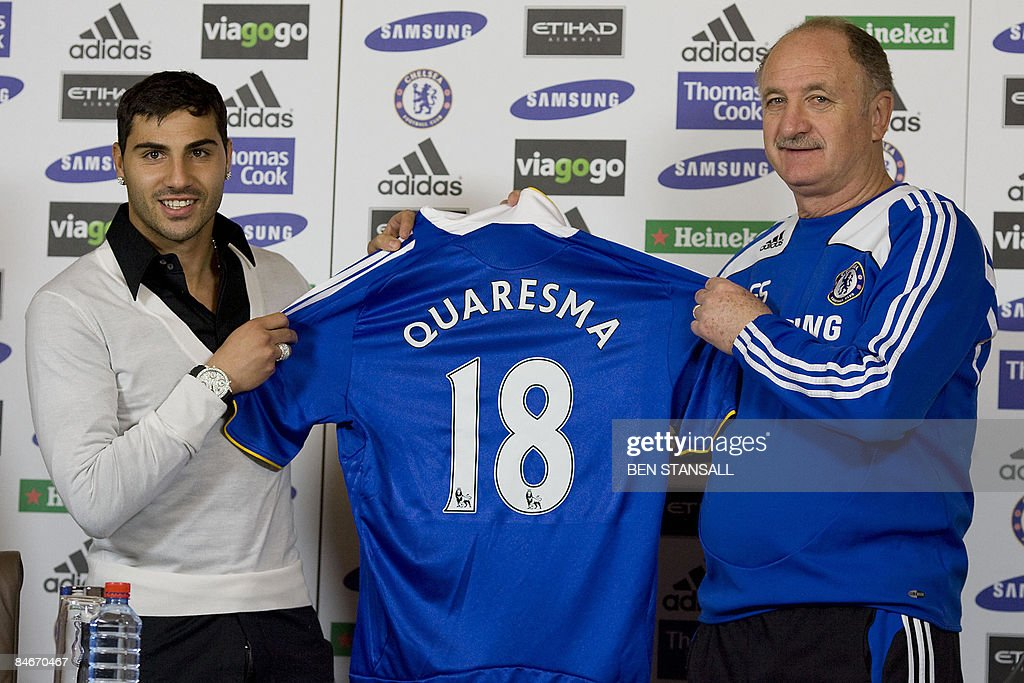 Chelsea new signing Ricardo Quaresma (L) and Manager Luiz Felipe Scolari attend a press conference at Chelsea training ground in Cobham, Surrey, on February 6, 2009. AFP PHOTO/Ben Stansall
