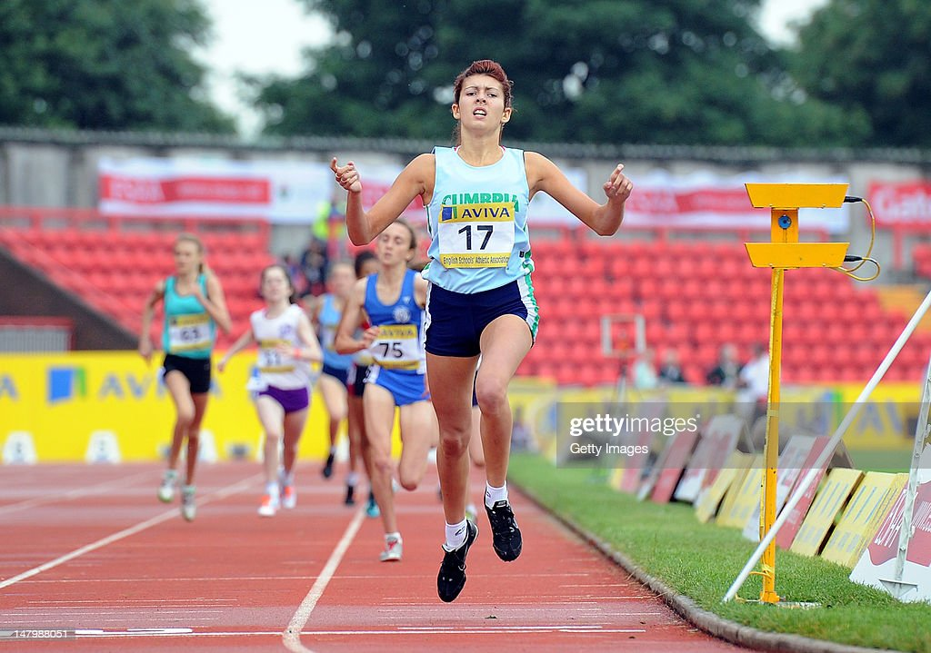 Chelsea Nugent of Cumbria crosses the line to win the Junior Girls 800 Metres during Day 2 of the Aviva English Schools Track & Field Championships at the Gateshead International Stadium on July 7 in Gateshead, England. Search Aviva Athletics on Facebook to Back the Team.