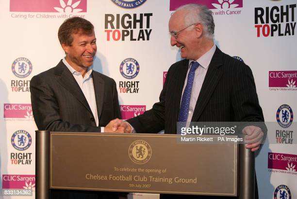 Chelsea owner Roman Abramovich and chairman Bruce Buck open the new training centre at Stoke D'Arbenon Cobham Surrey