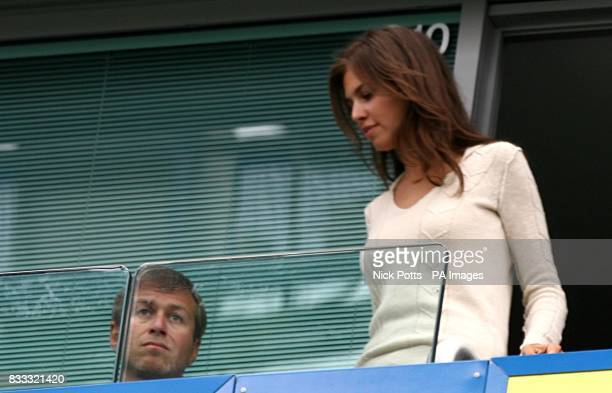 Chelsea owner Roman Abramovich and Daria Zhukova take their seats for the second half