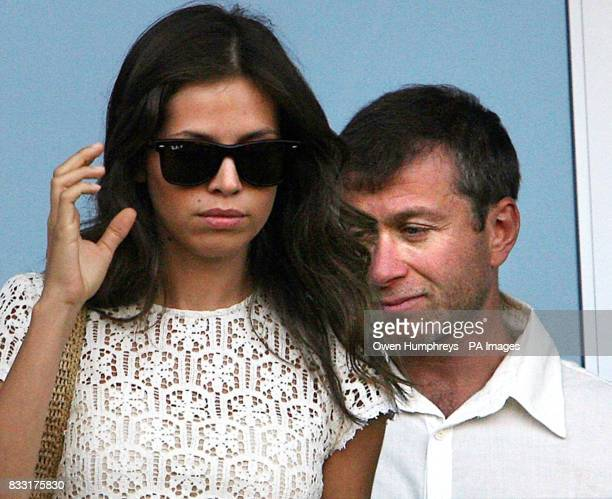 Chelsea Owner Roman Abramovich and Daria Zhukova watch as Chelsea play LA Galaxy during their friendly match at the Home Depot Center in Los Angeles...