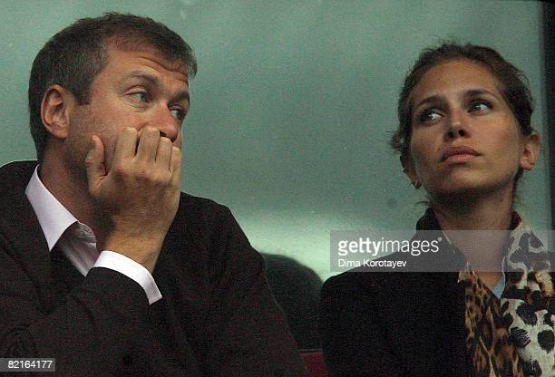 Chelsea owner Roman Abramovich and Daria Zhukova watch during the Russian Railways Cup match between Chelsea and Milan at the Lokomotiv Stadium on...