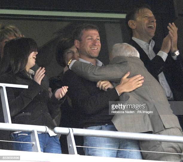 Chelsea owner Roman Abramovich celebrates after the final whistle