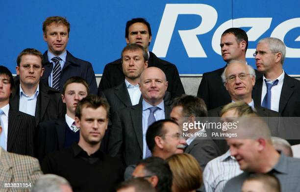 Chelsea owner Roman Abramovich is joined in the stands by Chelsea's Simon Greenberg Head of Communications Peter Kenyon Cheif Executive Brunce Buck...