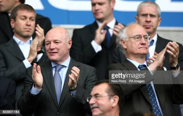 Chelsea owner Roman Abramovich is joined in the stands by Peter Kenyon Cheif Executive Brunce Buck Chairman and Eugene Tenenbaum