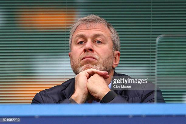 Chelsea owner Roman Abramovich is seen on the stand during the Barclays Premier League match between Chelsea and Sunderland at Stamford Bridge on...