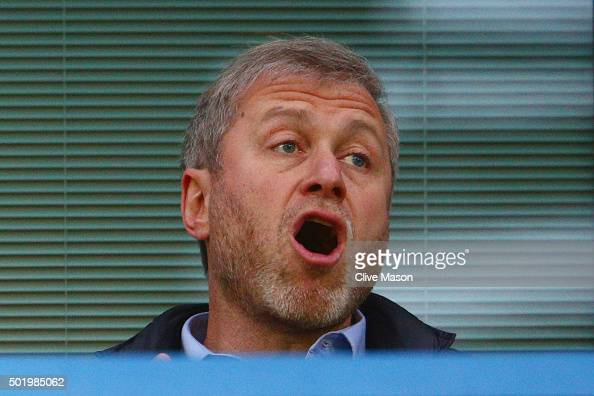 Chelsea owner Roman Abramovich is seen on the stand prior to the Barclays Premier League match between Chelsea and Sunderland at Stamford Bridge on...