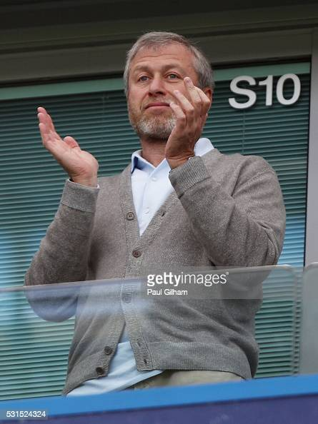 Chelsea owner Roman Abramovich is seen prior to the Barclays Premier League match between Chelsea and Leicester City at Stamford Bridge on May 15...