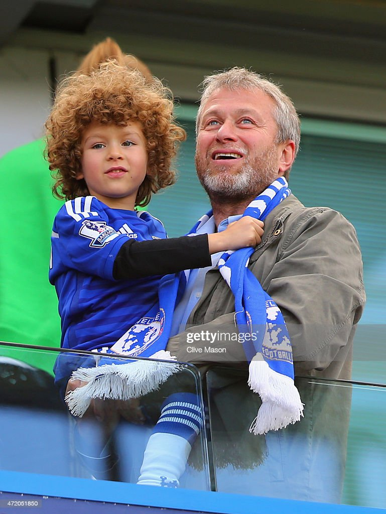 Chelsea owner Roman Abramovich looks on as Chelsea win the Premier League title after the Barclays Premier League match between Chelsea and Crystal Palace at Stamford Bridge on May 3, 2015 in London, England. Chelsea became champions with a 1-0 victory.