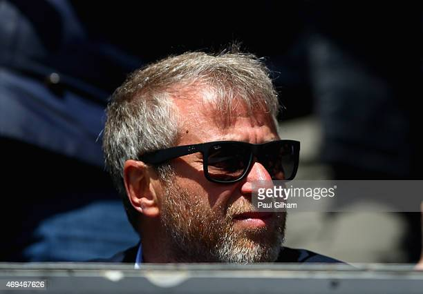 Chelsea owner Roman Abramovich looks on during his 700th game for Chelsea during the Barclays Premier League match between Queens Park Rangers and...