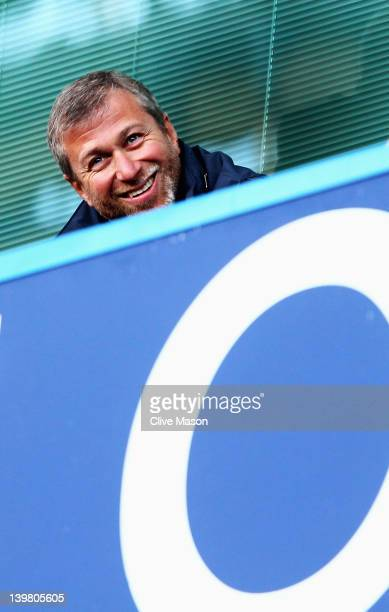 Chelsea owner Roman Abramovich looks on during the Barclays Premier League match between Chelsea and Bolton Wanderers at Stamford Bridge on February...
