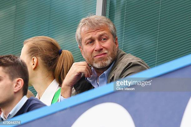 Chelsea owner Roman Abramovich looks on from the stands prior to the Barclays Premier League match between Chelsea and Crystal Palace at Stamford...
