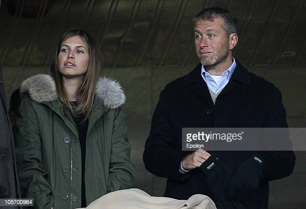 Chelsea owner Roman Abramovich looks on with his girlfriend Daria Zhukova prior to the UEFA Champions League Group F match between FC Spartak Moscow...