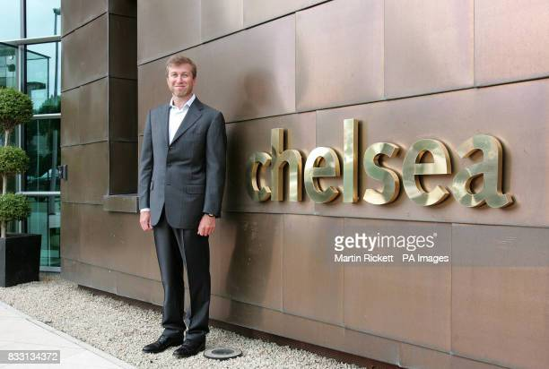 Chelsea owner Roman Abramovich outside the new training centre at Stoke D'Arbenon Cobham Surrey