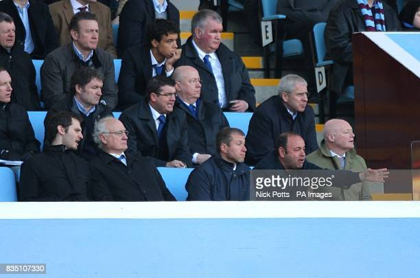 Chelsea owner Roman Abramovich watches from the stands with Chelsea Chairman Bruce Buck Eugene Shvidler and Peter Kenyon