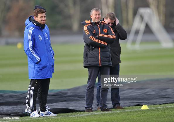 Chelsea owner Roman Abramovich with Chelsea manager Andre VillasBoas during a training session at the Cobham training ground on February 9 2012 in...