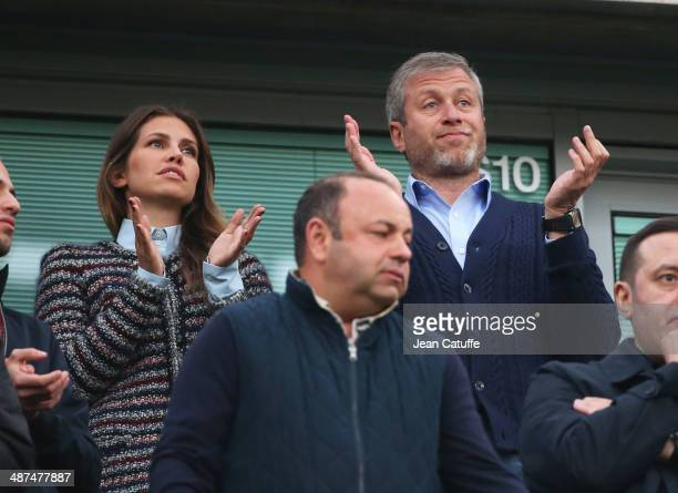 Chelsea owner Roman Abramovich with his girlfriend Dasha Zhukova attend the UEFA Champions League semi final second leg match between Chelsea FC and...