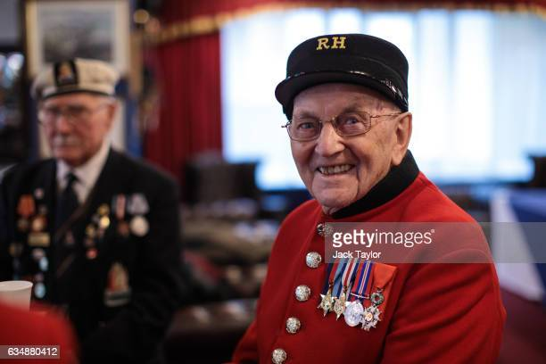 Chelsea pensioner and veteran of World War II Bill Fitzgerald is pictured ahead of a photo call for the launch of the Veterans Black Cab ride at...
