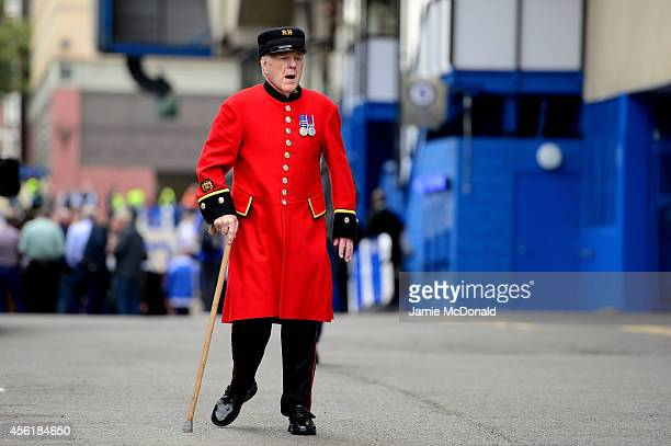 Chelsea Pensioner arrives at the stadium prior to kickoff during the Barclays Premier League match between Chelsea and Aston Villa at Stamford Bridge...