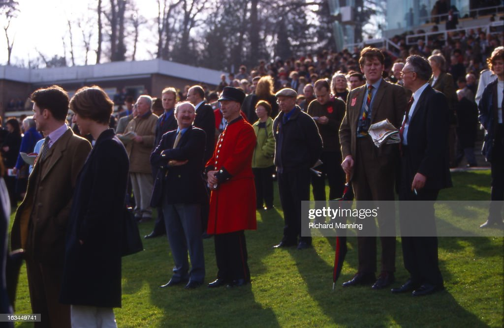 Chelsea Pensioner at The Grand Military Gold Cup, held annually at Sandown Park Racecourse in Esher, Surrey. It is a meeting point for the Military, in particularly Cavalry Officers, and has it's origins in the days when mounted Cavalry Officers still rode to war.