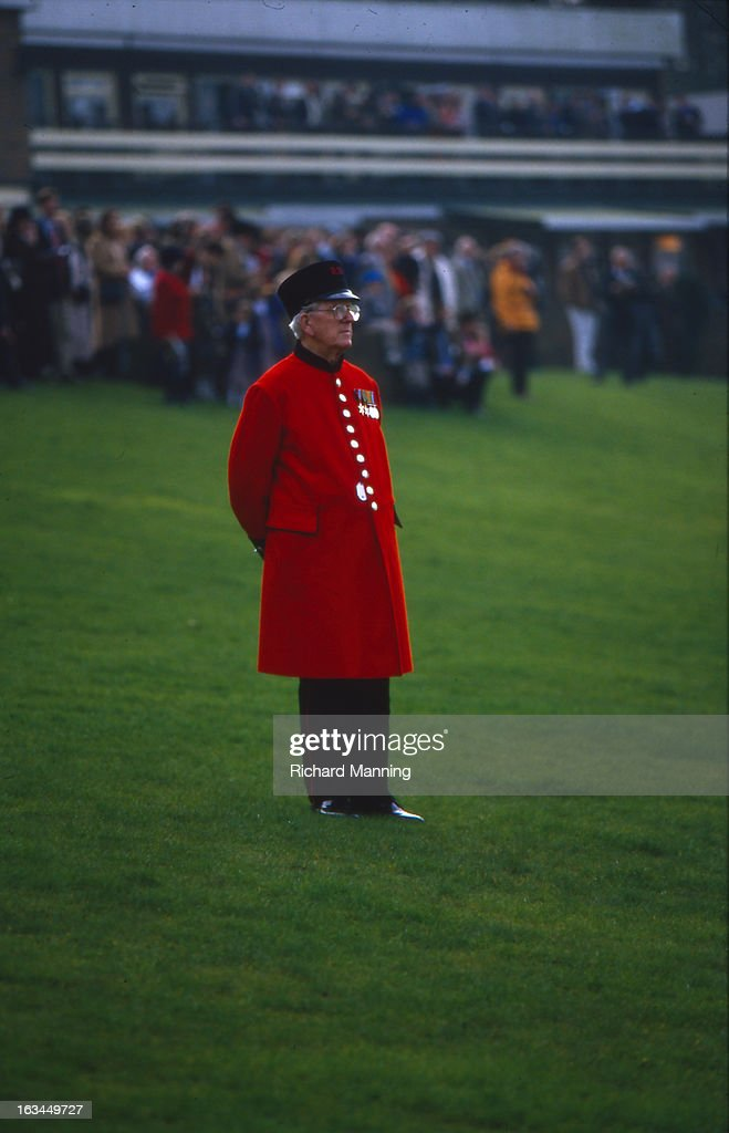A Chelsea Pensioner attends the Grand Military Gold Cup, held annually at Sandown Park Racecourse in Esher, Surrey. It is a meeting point for the Military, in particularly for Cavalry Officers, with its origins in the days when mounted Cavalry Officers still rode to war.