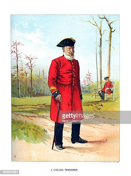 'Chelsea Pensioner' c1890 A coloured lithographic plate from Her Majesty's Army by Walter Richards JS Virtue Company