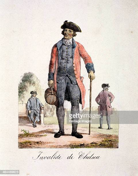 A Chelsea Pensioner Chelsea London c1830 A war veteran in the traditional red uniform of the Royal Hospital at Chelsea He wears a tricorn hat and...