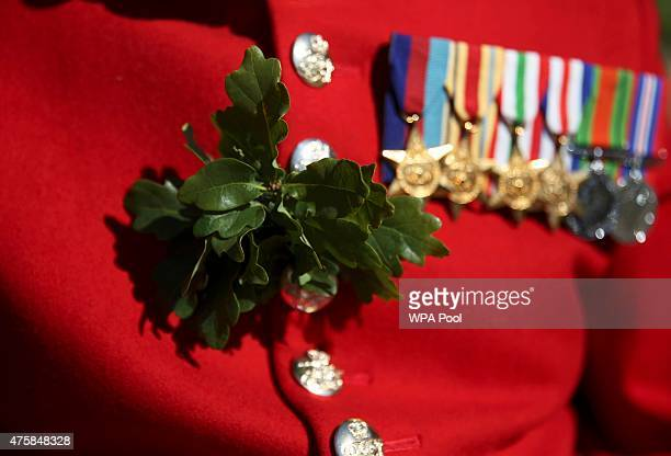 Chelsea Pensioner displays medals and oak leaf decoration before the Founder's Day Parade at the Royal Hospital Chelsea on June 04 2015 in London...
